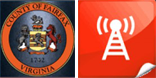Fairfax County Seal and emergency alert icon