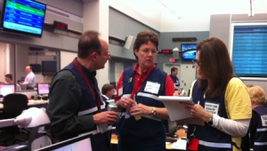 County staff in the Emergency Operations Center during a tornado exercise