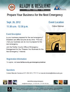 Business Preparedness Webinar hosted by Fairfax County Office of Emergency Management, Sept. 26, 2012