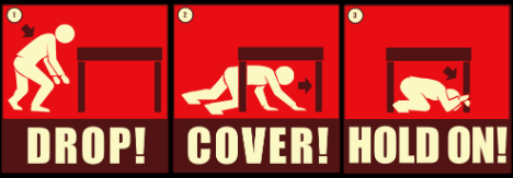 Drop, cover and Hold On - Participate in the Great Southeast ShakeOut on Oct. 18, 2012, at 10:18 a.m.