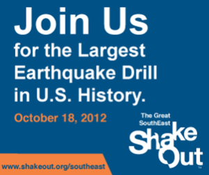 Great Southeast ShakeOut, Thursday, Oct. 18, at 10:18 a.m.