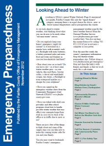 "November ""Emergency Preparedness"" newsletter"