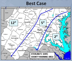 Best case snow fall predictions by National Weather Service for March 6, 2013