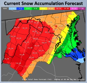 10:30 a.m. snow fall predictions by National Weather Service for March 6, 2013