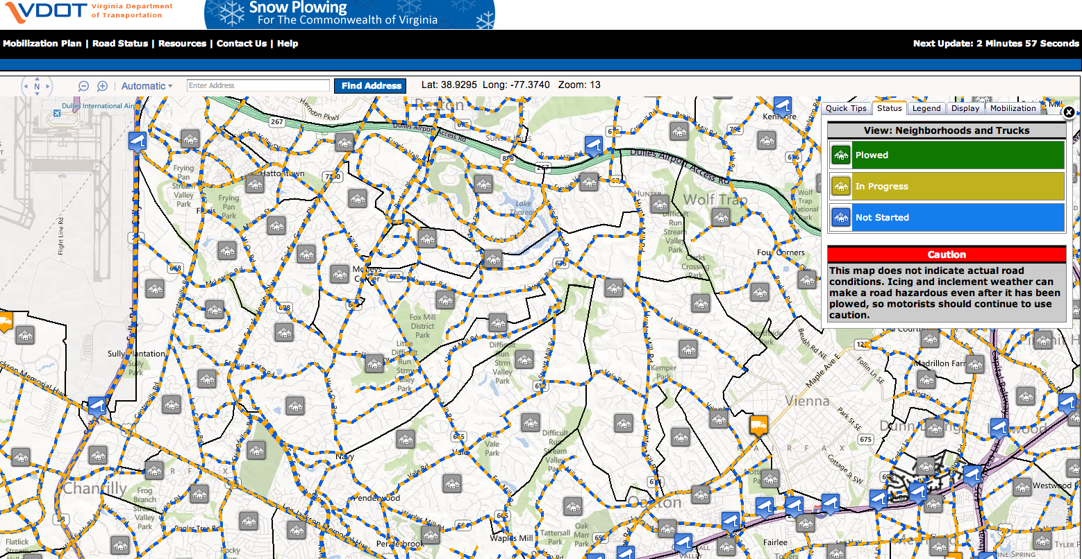 Vdot Snow Plow Map Track VDOT Snow Plowing Efforts | Fairfax County Emergency Information