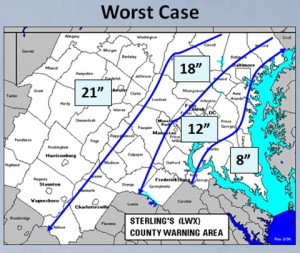 Worst case snow fall predictions by National Weather Service for March 6, 2013