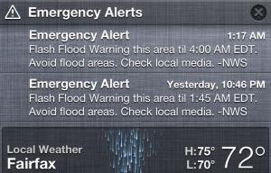 Wireless Emergency Alert example