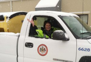 Board of Supervisors Chairman Sharon Bulova toured snow removal activities at critical county facilities.
