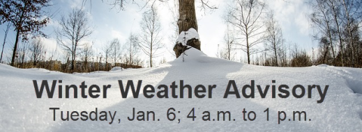 Winter Weather Advisory Issued for Tuesday, Jan. 6, 2015
