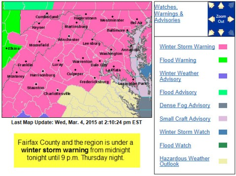 Winter Storm Warning March 4, 2015