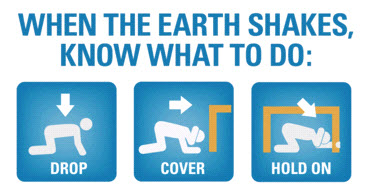 Drop, Cover and Hold On for earthquake safety