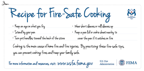 Recipe for fire-safe cooking