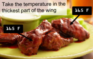 safe temperatures for cooking wings