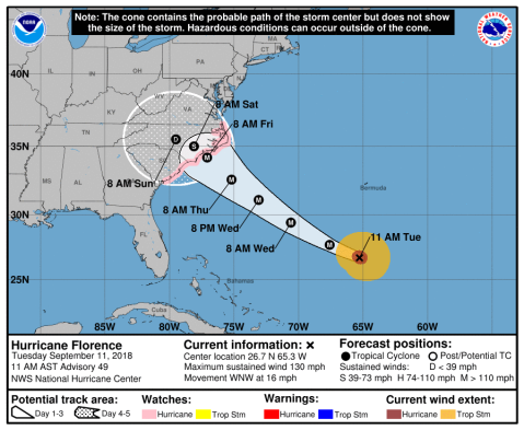Hurricane Florence path (Sept 11, 2018)