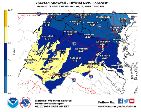 NWS expected snowfall map